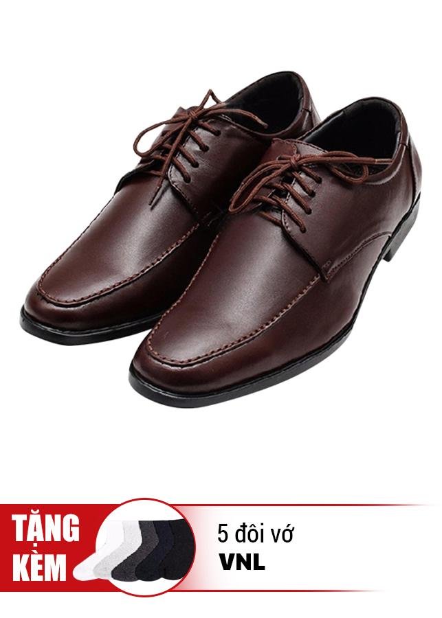 Giày Tăng Chiều Cao Cột Dây Cổ Điển Da Thật VNL VNL0ALZD20CN-QTV - Nâu + Tặng 5 Đôi Vớ