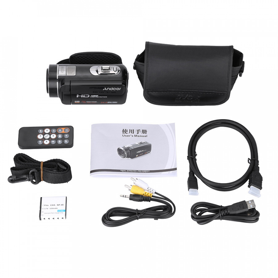 Andoer Hdv-Z8 1080P Full Hd Digital Video Camera Camcorder 16× Digital Zoom With Digital Rotation Lcd Touch Screen Max.