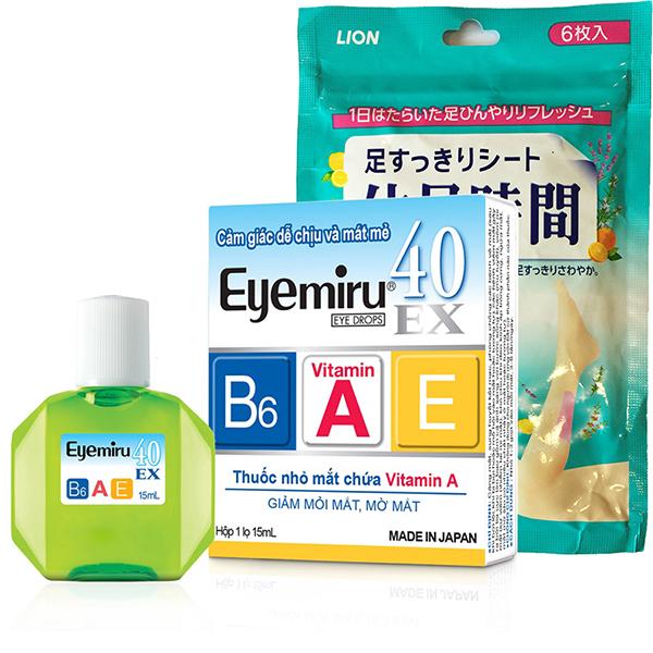 Combo 1 Thuốc Nhỏ Mắt Eyemiru 40ex + 1 Gói (6 Miếng) Dán Chân Thư Giãn Kjs