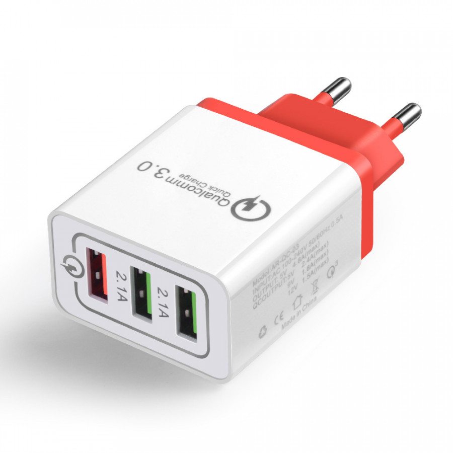Fast Phone Charger QC3.0 3 Ports USB EU US Plug Power Adapter Travel Charger Power Adaptor Socket Home Converter Wall