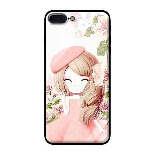 Ốp lưng kính cường lực cho iPhone 7 Plus Anime Cô Gái Váy Bông - Hàng chính hãng