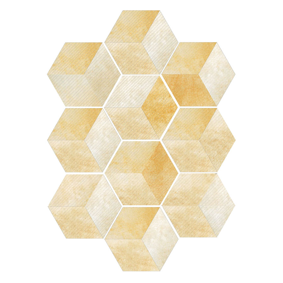 Miếng Dán Tường Lục Giác Vàng Chống Nước LB020 (10 Miếng)