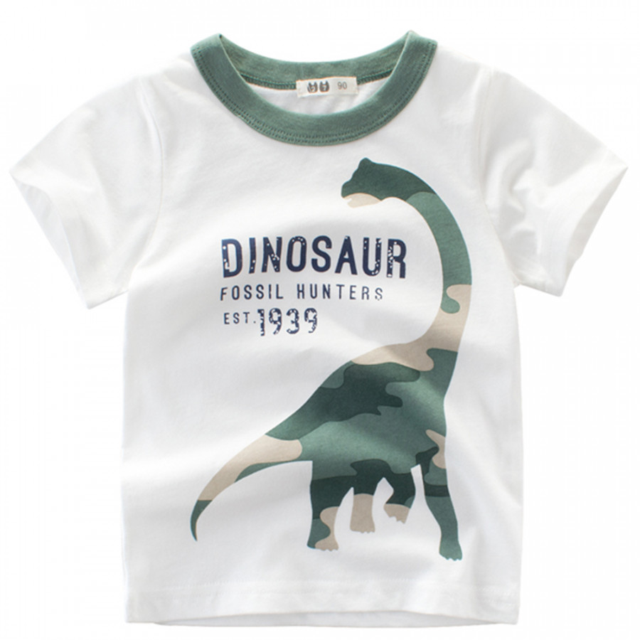Boy Short Sleeve Cotton T-Shirt Round Neck Summer Kids Clothes Cartoon Dinosaur Camouflage Printing  Shirt Tee - 853136 , 9413170424230 , 62_14097685 , 211000 , Boy-Short-Sleeve-Cotton-T-Shirt-Round-Neck-Summer-Kids-Clothes-Cartoon-Dinosaur-Camouflage-Printing-Shirt-Tee-62_14097685 , tiki.vn , Boy Short Sleeve Cotton T-Shirt Round Neck Summer Kids Clothes Carto