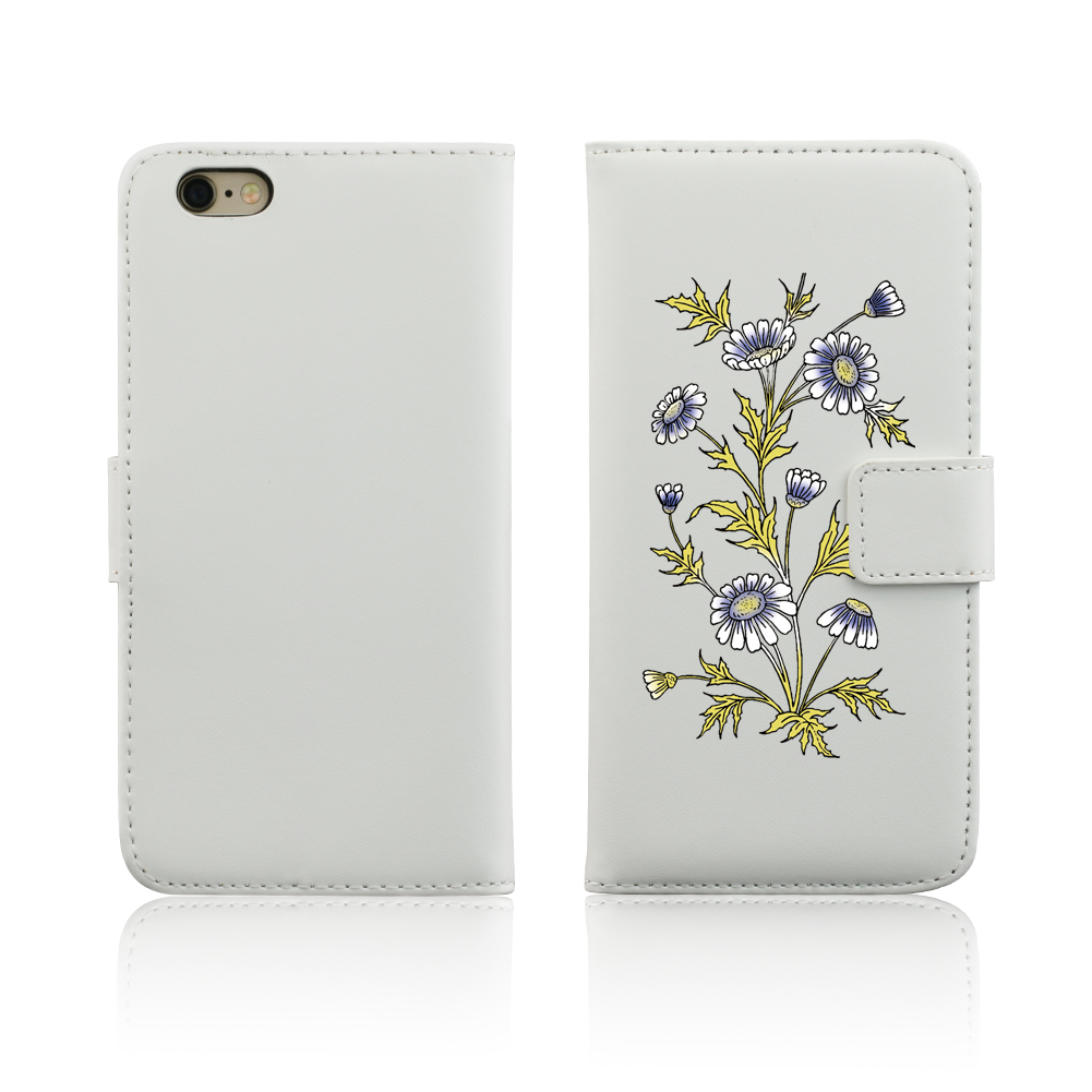 Daisy Flower Faux Leather Card Slots Stand Full Cover Case for iPhone 5 SE 6S 7