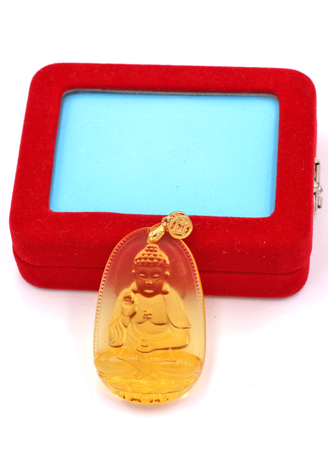 Mặt Phật A Di Đà - pha lê vàng 5cm - kèm hộp nhung - tuổi Tuất và tuổi Hợi