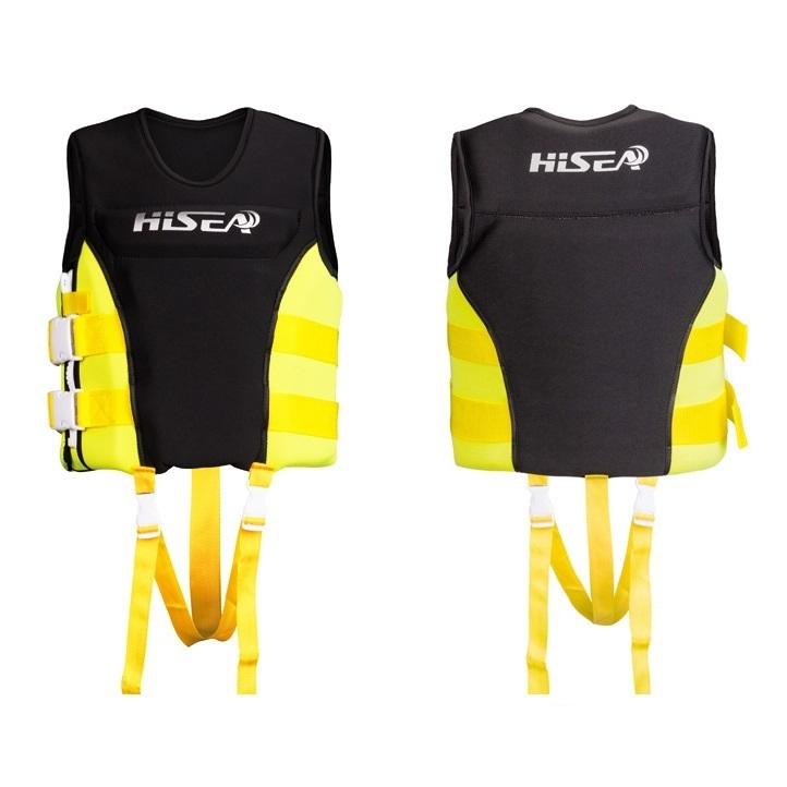 Áo phao bơi cứu hộ YELLOW HISEA cho người dưới 50kg, phao bơi cho trẻ em cao cấp - POKI