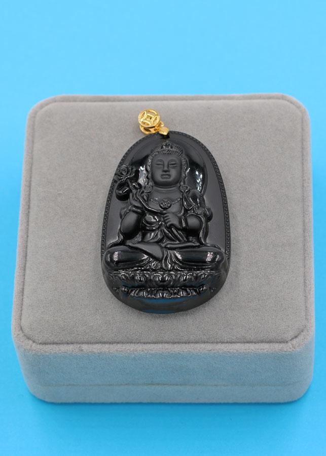 Mặt Phật - Đại Thế Chí Bồ Tát - đen 6cm MDES4 - kèm hộp nhung - tuổi Ngọ