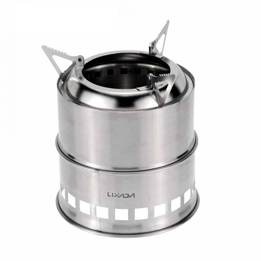 Lixada Portable Stainless Steel Lightweight Wood Stove Alcohol Stove Burner Outdoor Cooking Picnic BBQ Camping