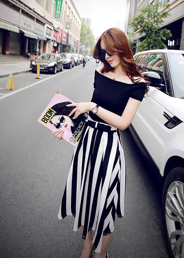 1414841673009 - set áo thun trễ vai chân váy vintage duyên dáng -sd1167