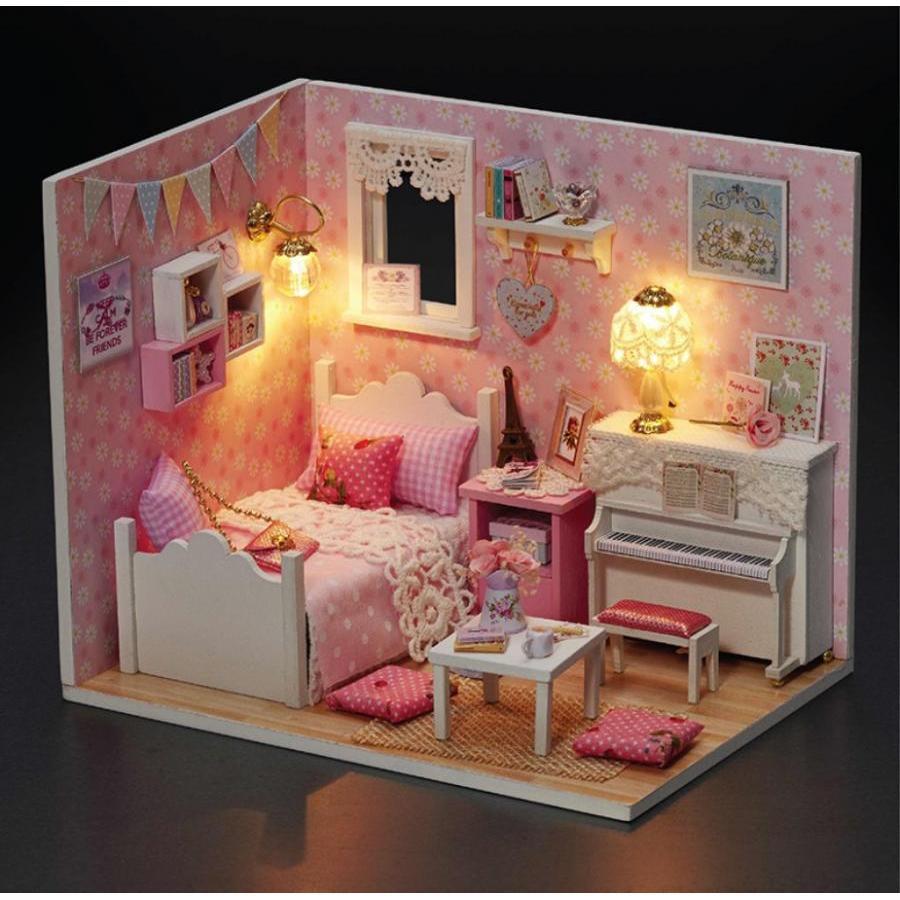 Mô hình nhà búp bê Cute Room - phòng ngủ màu hồng Sunshine Princess có đàn piano trắng (kèm mica che bụi + keo dán)