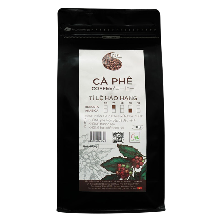 Cà Phê Hạt Nguyên Chất Tỉ Lệ Hảo Hạng 70% Robusta Và 30% Arabica Light Coffee 7R3AHH500 (500g / Gói)