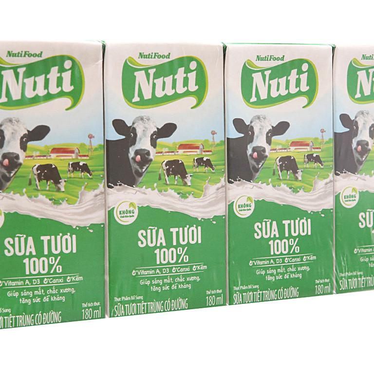 Bộ 4 hộp sữa tươi tiệt trung 100% có đường Nutifood 180ml