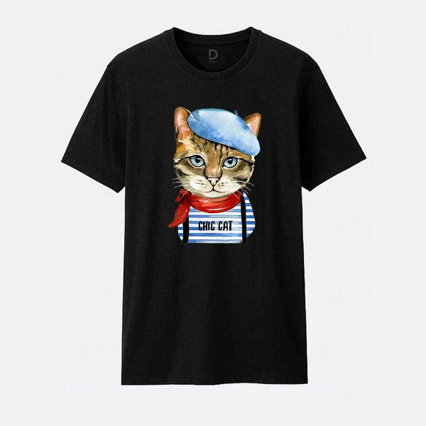 Áo T-shirt Trẻ Em Cat With Beret Hat B Dotilo HU014A - Đen