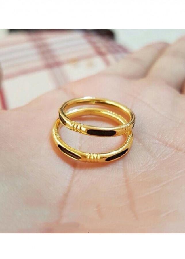 Nhẫn Đôi Vàng Đơn 1 Lông Đuôi Voi Vàng 10k Cỡ Trung Bình