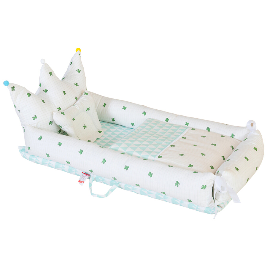 Crown Baby Crib for Bed Portable All in one Infant Co-Sleeping Bassinet Cradles Lounger Newborn Nest 100% Cotton Super Soft Breath