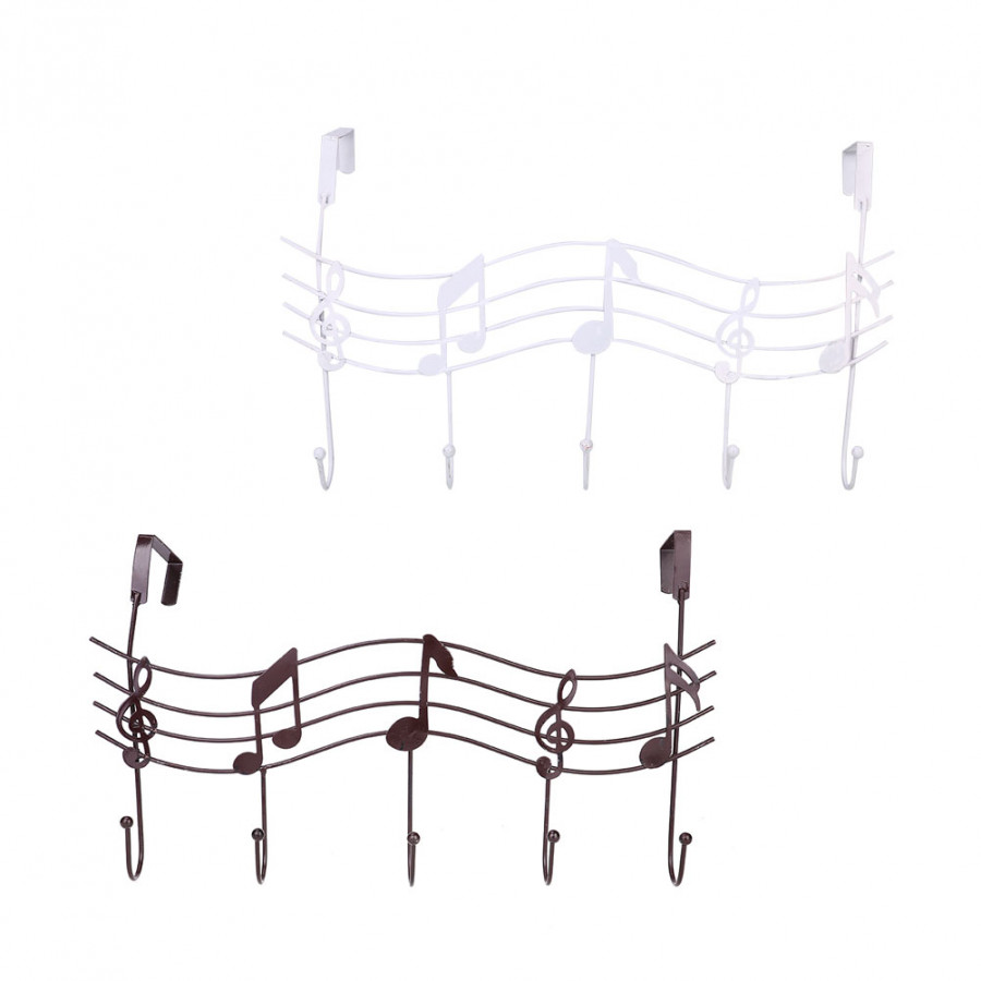 Metal Hook Cloth Hanger Music Note Style Home Bathroom Kitchen Wall Door