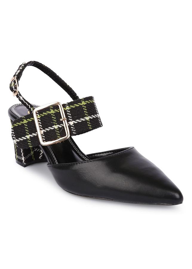 Giày Cao Gót Girlie Mũi Nhọn Trơn S35585-Đen