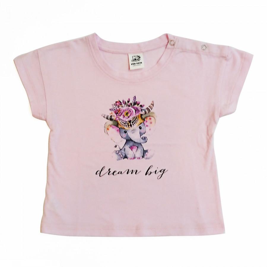 Áo phông cho bé gái bg in con voi K