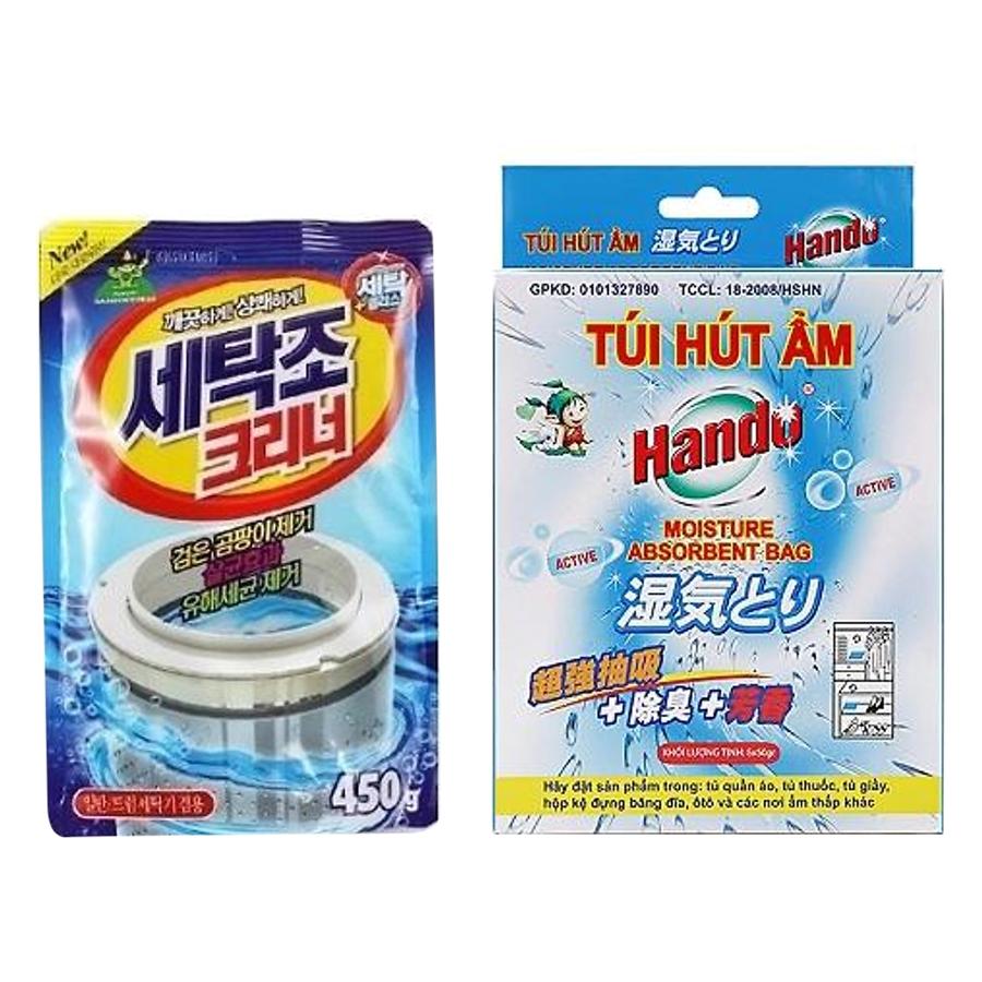 Combo gói bột tẩy vệ sinh lồng máy giặt 450g Korea và hộp 5 túi hút ẩm chống mốc Hando