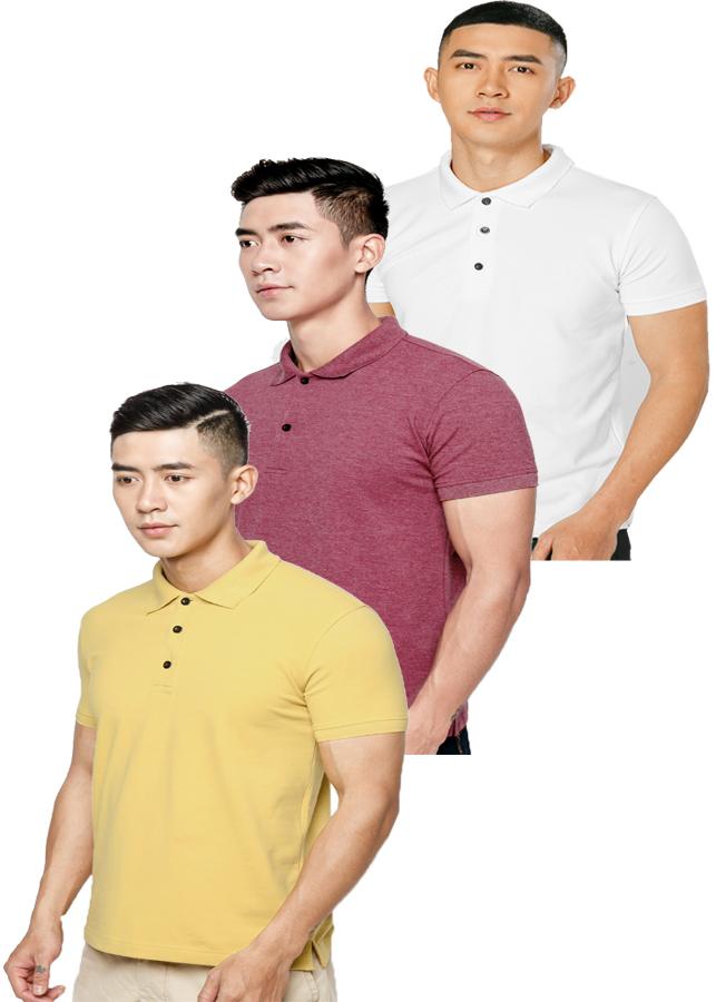 Combo 3  Áo thun nam 100% Cotton, EZ06 ( Trắng, đỏ, vàng)