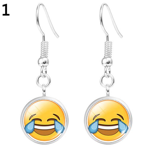 Women Fashion Cute Personalized Emoji Design Glass Pendant Drop Earrings Jewelry