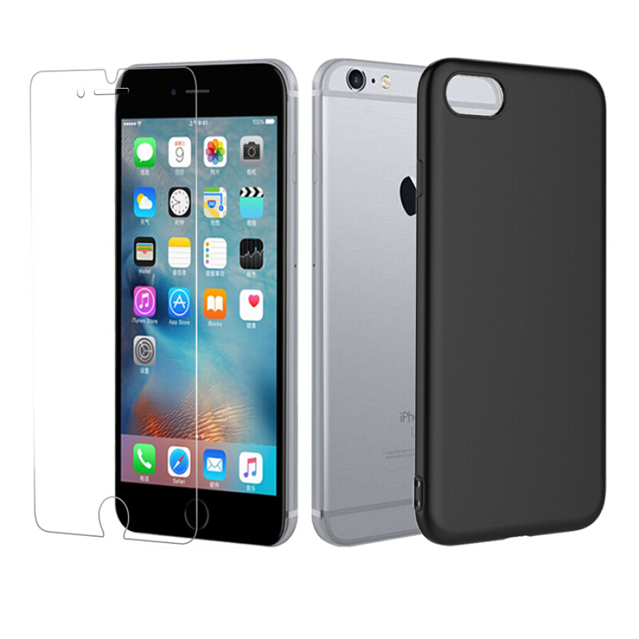 [Shell Film Set] ESCASE Apple iPhone6/6s Plus Mobile Shell Black Silicone Drop protection sleeve Send Steel film
