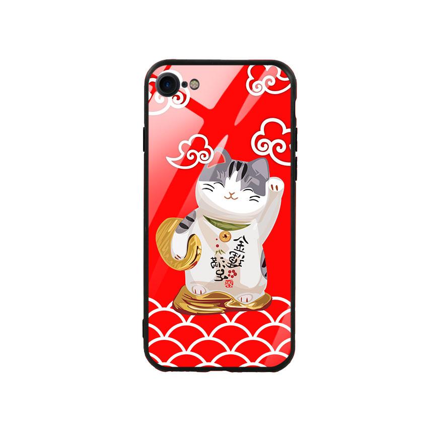 Ốp lưng kính cường lực cho điện thoại Iphone 7/8 - Mèo May Mắn 01