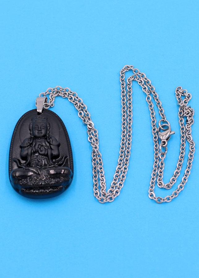 Vòng cổ phật Đại Nhật Như Lai - thạch anh đen 3.6cm DITTEB5 - dây inox bạc - tuổi Mùi, Thân