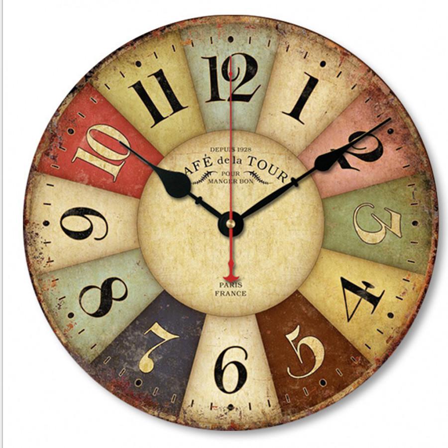Đồng hồ treo tường Vintage Phong cách Châu Âu size to 30cm DH28 Số