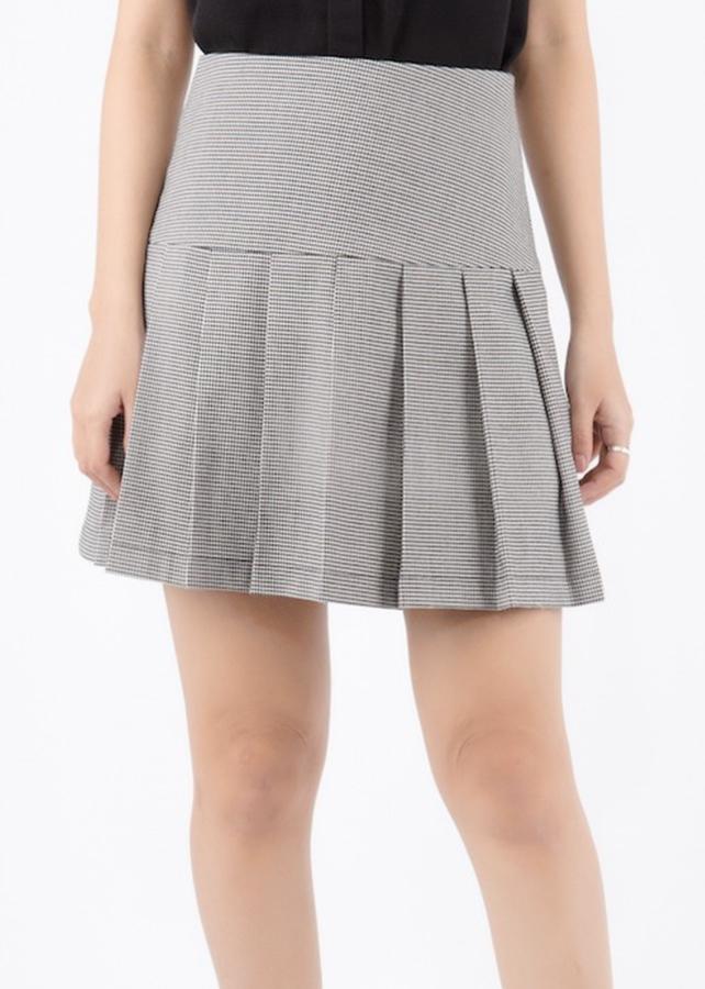 Chân Váy A Tweed Xếp Li De Leah - Ghi