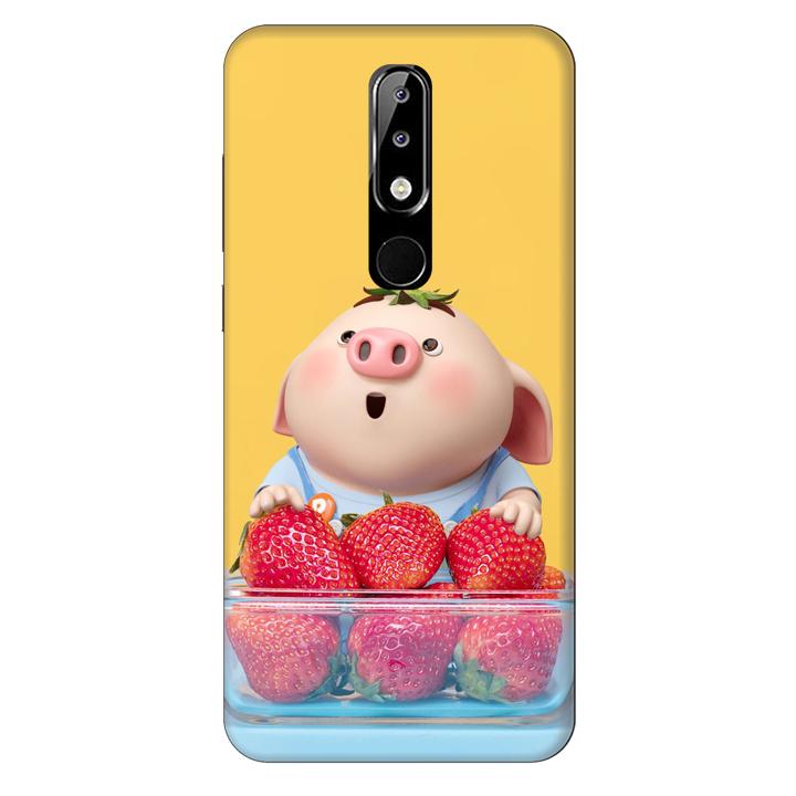 Ốp lưng nhựa cứng nhám dành cho Nokia X5 in hình Heo Con Dâu Tây