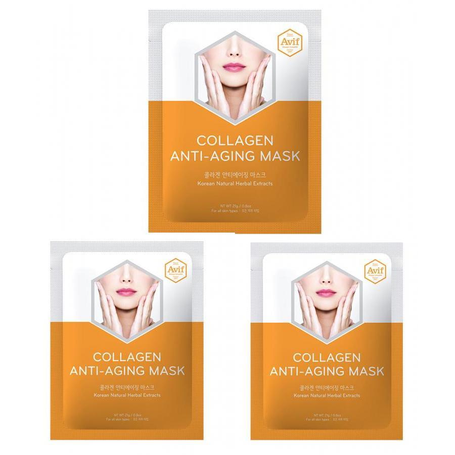 Combo 3 mặt nạ Avif dưỡng da giảm lão hóa - Avif collagen anti-aging mask 21g