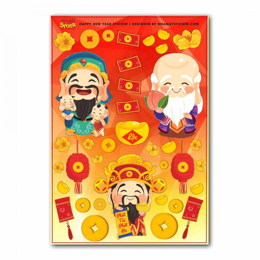 Sticker decal hình dán trang trí tết - Phúc Lộc Thọ