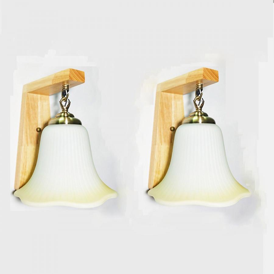 Combo 2 đèn tường - đèn cầu thang đế gỗ R0001T - Kèm bóng LED chuyên dụng NATURAL LAMP