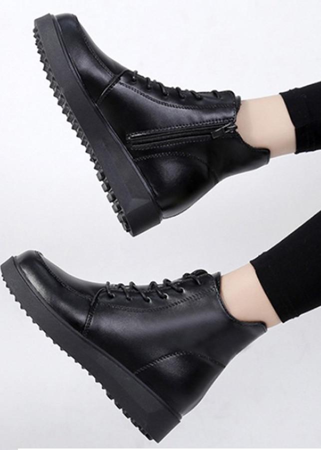 Giày boot bánh mì cột dây 1 dây kéo S400