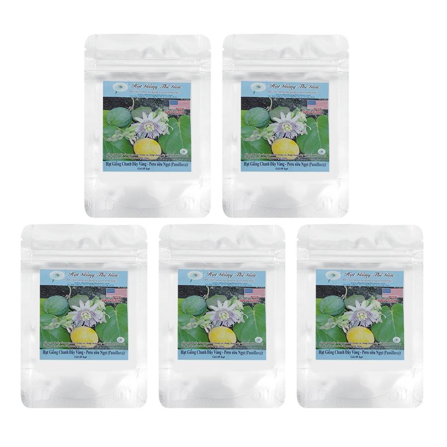 Bộ 5 Túi Hạt Giống Chanh Dây Vàng - Peru siêu Ngọt (Passiflora) 5h