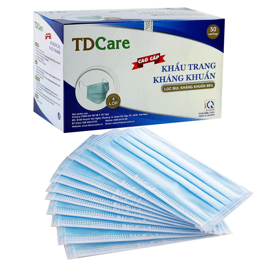 Hộp Khẩu trang kháng khuẩn TDCare 4 Lớp-Xanh