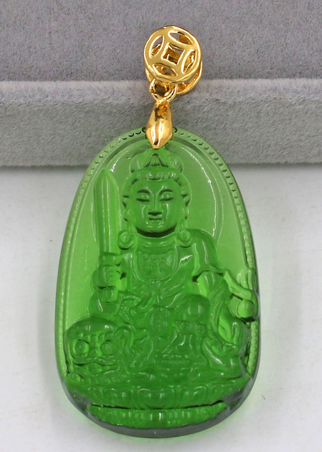 Mặt phật Văn Thù Bồ Tát thủy tinh xanh lá 3.6cm