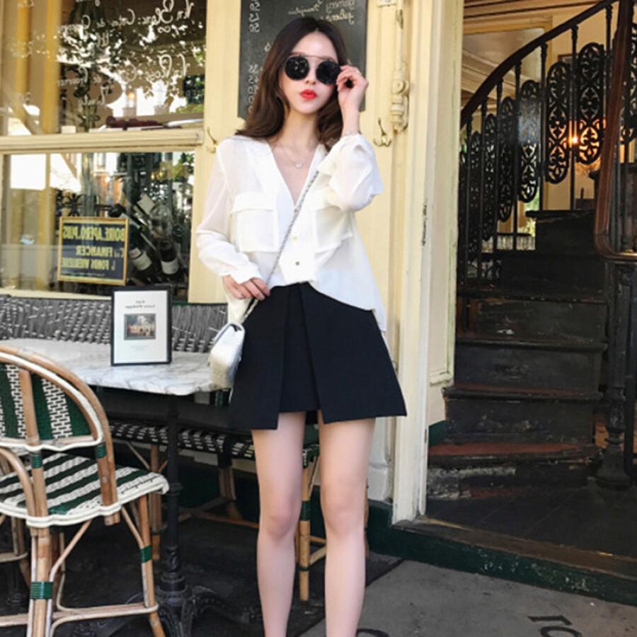 Váy + Áo Sơ Mi Tay Dài Langyue LWQZ183716