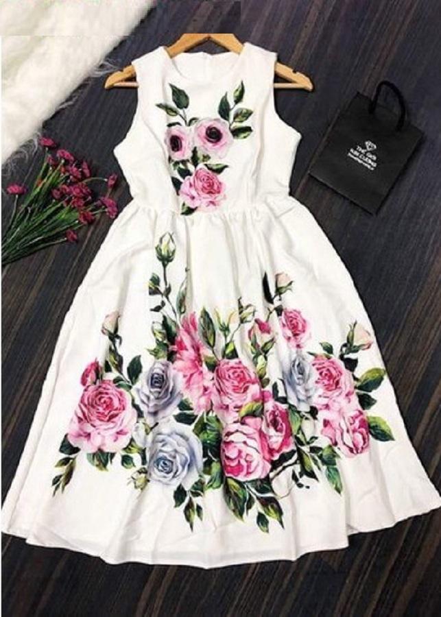 Đầm xoè hoa in 3D