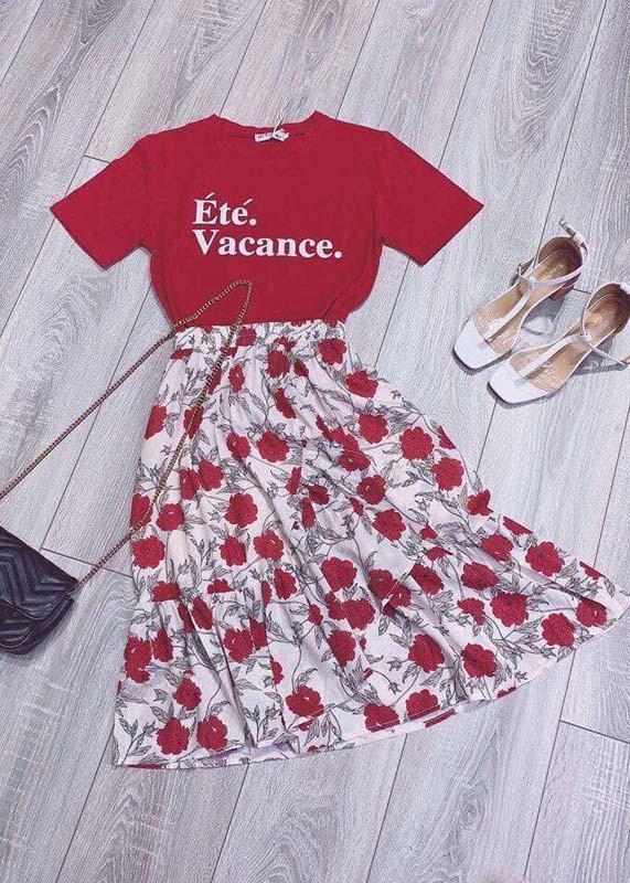 6291133084522 - Set bộ áo thun chân váy màu đỏ siêu xinh - S1130