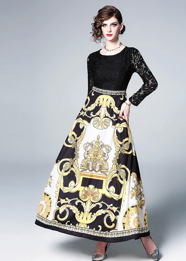 2099376086969 - Đầm xòe ren hoa dạo phố kiểu đầm xòe phối chân váy in họa tiết ROMI1715