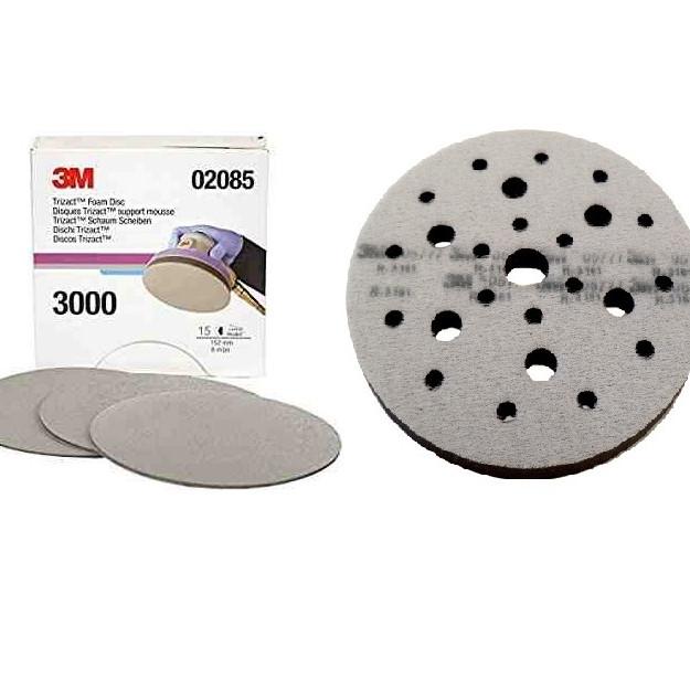 Bộ sản phẩm 1 hộp nhám đĩa tròn 6 inch 3M Trizact P3000 (15 tờ) và 1 đế đệm xốp 6 inch 3M