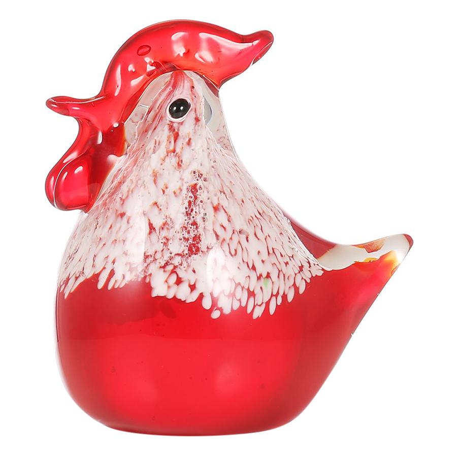 Tooarts Small Chicken Glass Sculpture Home Decor Glass Modern Art Modern Sculpture Ornament Gift Animal Craft Decoration