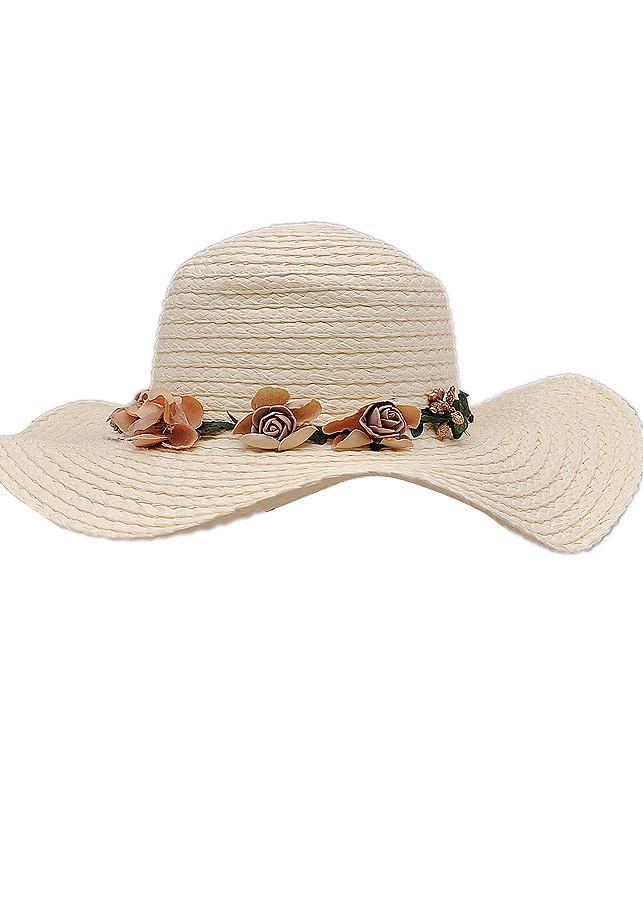 Mũ Vành Rộng Chất Cói Màu Trắng EH52-1
