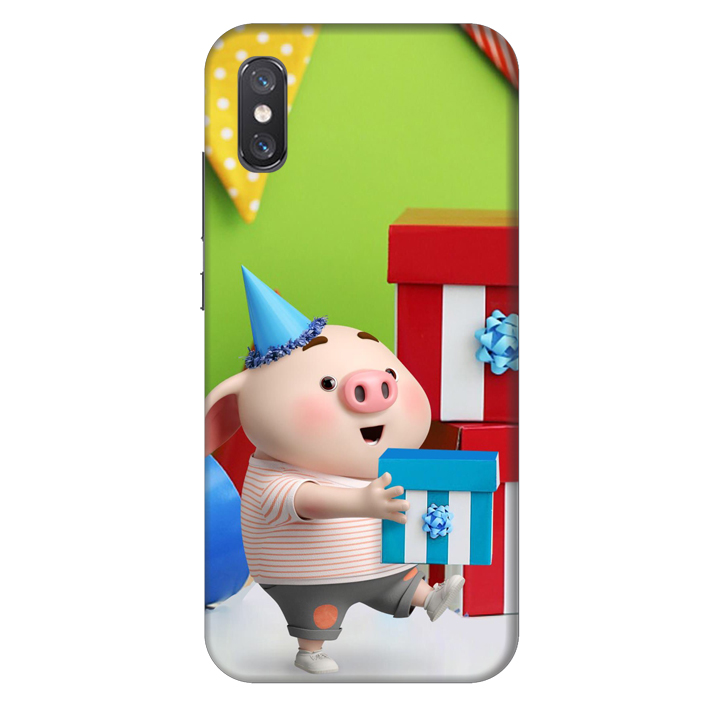 Ốp lưng nhựa cứng nhám dành cho Xiaomi Mi 8 Pro in hình Heo Con Mừng Sinh Nhật