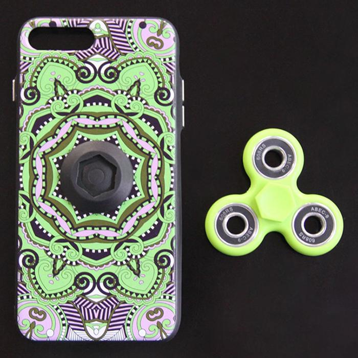 Finger Hand Spinner Tri Fidget Embedded Mobilephone Case For iPhone6/6S Plus - Green