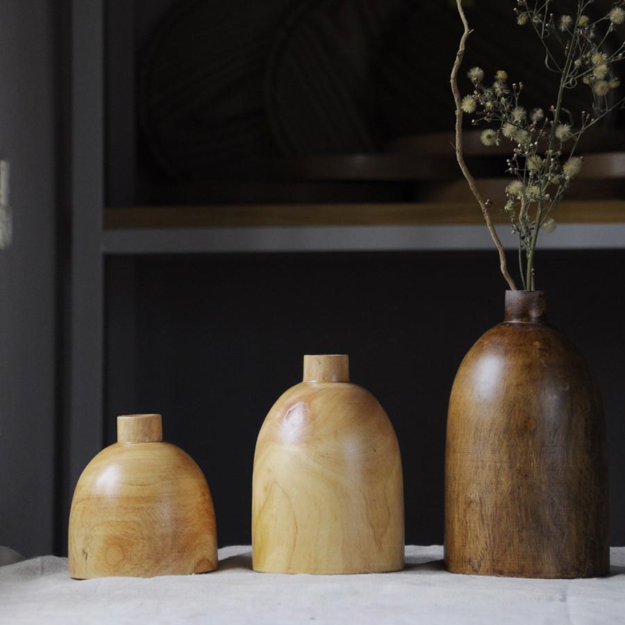 Bộ 3 lọ hoa gỗ dáng bầu tròn - lọ hoa thủ công trang trí nhà cửa