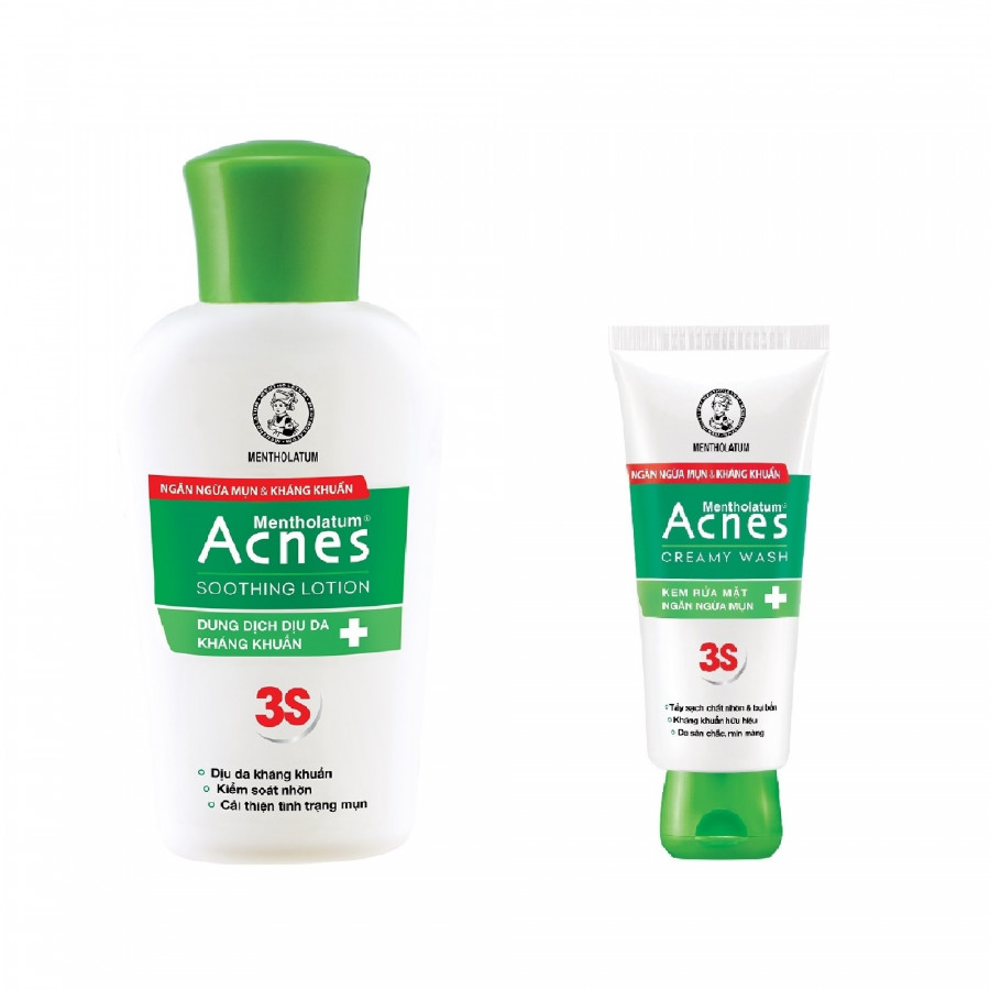 Combo Dung Dịch Dưỡng Dịu Da Kháng Khuẩn Và Ngừa Mụn Acnes Soothing Lotion (90ml) + Kem rửa mặt Acnes Creamy Wash (25g)