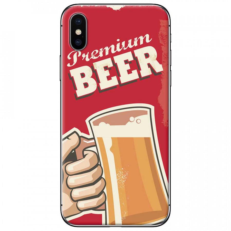 Ốp lưng dành cho iPhone X mẫu Ly bia nền đỏ
